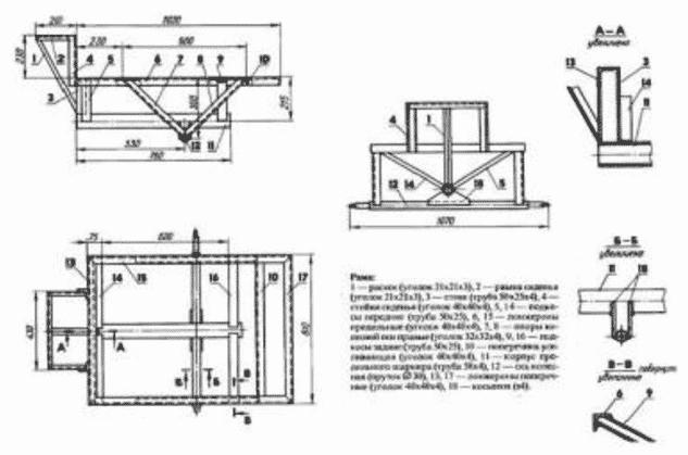 Схема рамы прицепа для мотоблока