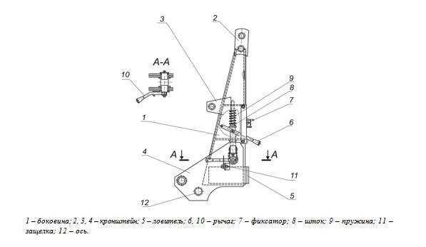 Центральная часть стрелы крана трактора - чертеж