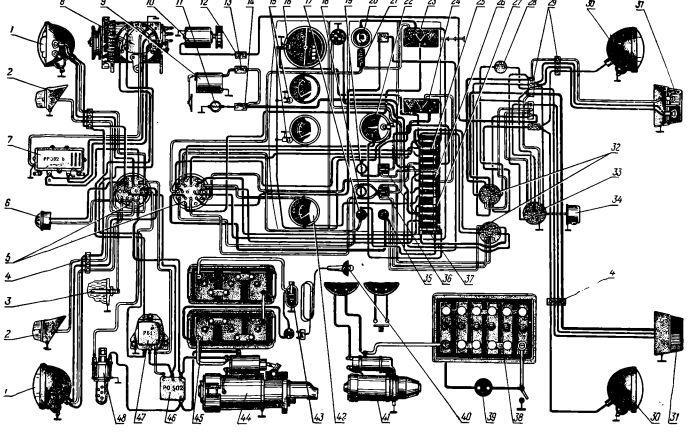 Чертеж электрической проводки МТЗ 80