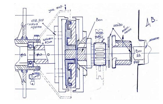 Лодочный мотор из бензопилы - чертеж узла муфты