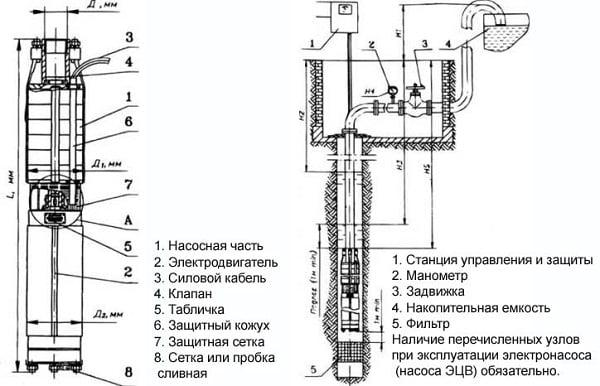 Насос «ЭЦВ» 5-5-80: устройство